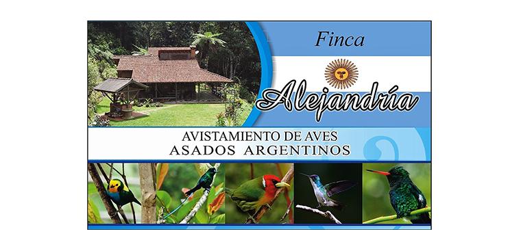 Logo Finca Alejandría, avistamiento de aves y asados argentinos